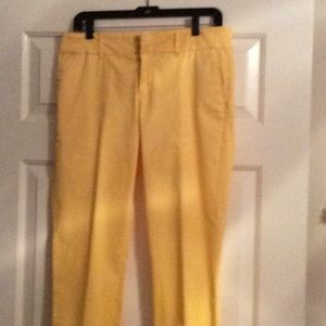 Yellow wide band cropped pants